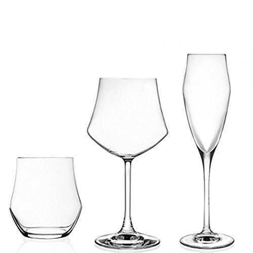 Set 18 Pezzi (6 Flute - 6 Bicchieri Acqua - 6 CALICI Vino) Cristallo Trasparenti Rcr Ego Made in Italy