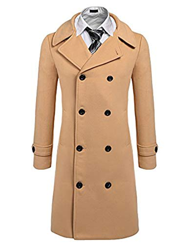 COOFANDY Men's Woollen Duffle Coat Vintage Toggle Winter Hoodie Overcoat Jacket (Small, 4 - Khaki)