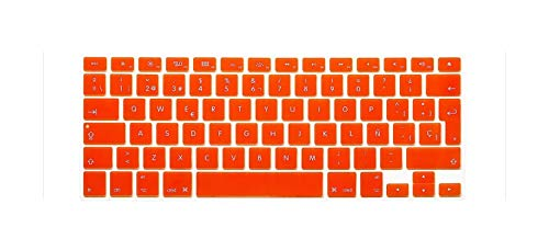 Colorful EU Spanish Letter Silicone Keyboard Protector Cover Skin Film For Mac For Macbook Pro 13 15 17 Air Retina 13-Orange-