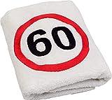 Abc Casa Toalla de 60 cumpleaños con señal de tráfico bordada, para hombre y mujer, útil como regalo de 60 años, un práctico regalo de 60 años de aniversario, idea de regalo