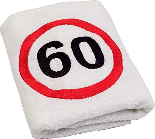 Abc Casa - Toalla de 60 cumpleaños con signo de tráfico bordado para hombre y mujer, ideal como regalo de cumpleaños de 60 años