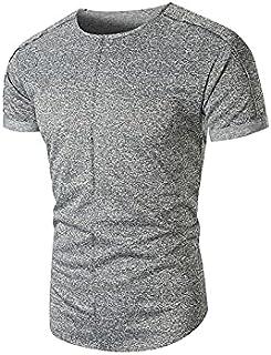 Wanxiaoyyyinnsdx Mens Henley Short Sleeve, Men's Summer Fitness t shirt homme Comfortable Solid Color O-Neck Short Sleeved...