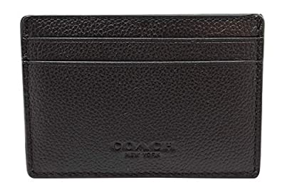 Coach Men's Money Clip Card Case Calf Leather Wallet, F75459 (Black)