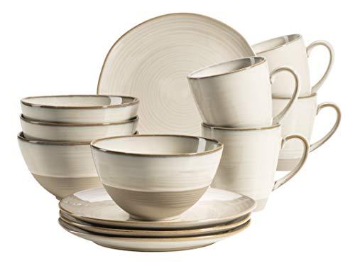 MÄSER 931818 Serie Nottingham - Juego de desayuno de cerámica para 4 personas (12 piezas), diseño vintage, color beige
