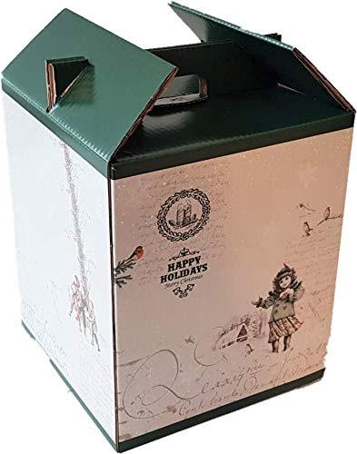 Caja para Vino - Estuche de 9 botellas de vino - Caja para lote de navidad - Happy Holidays | 4 Unidades