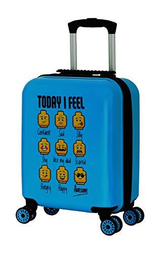 BBM Lego Bags Play Date Trolley aus ABS Kunststoff, Reisetrolley mit Lego Minifigures Today I Feel Motiv, Kindertrolley mit 30 Liter Volumen, Trolleykoffer mit 4 Doppellauf Rollen, Kinder Koffer Blau