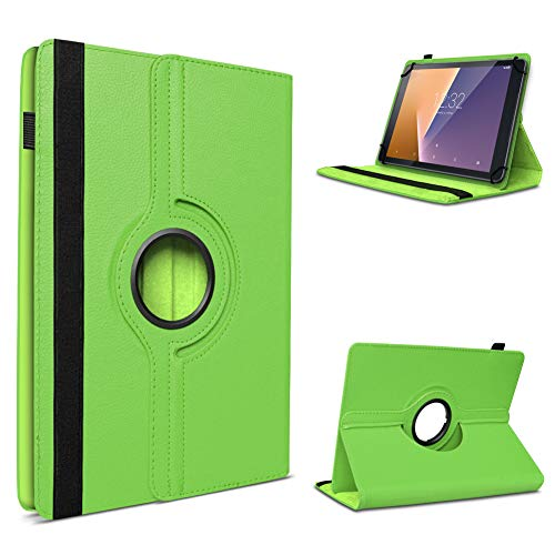 UC-Express Tablet Hülle kompatibel für Vodafone Tab Prime 6/7 Schutzhülle aus Kunstleder Tasche mit Standfunktion 360° drehbar Universal Cover Hülle, Farben:Grün