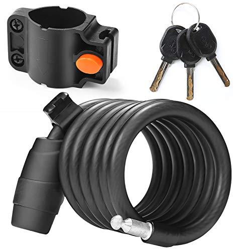 StepX Candado para Bicicleta, Cable en Espiral de Acero Bike Lock con Llaves Seguras Candado Antirrobo para Bicicleta con Soporte de Montaje y 3 Llaves, 180 cm (6 Feet)(Color:Negro)