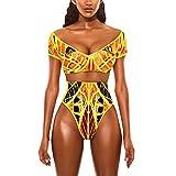 Dorical Badeanzug Bademode Bikini/Damen Frauen Sexy Afrikanischen Druck Böhmischen Stil Jumpsuit Set Bademode Badeanzug Beachwear Schwarz Retro Dessous Overall Sonderverkauf(Gelb,Small)