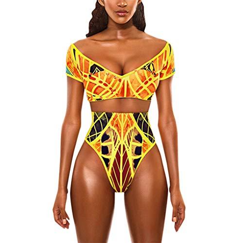 Dorical Badeanzug Bademode Bikini/Damen Frauen Sexy Afrikanischen Druck Böhmischen Stil Jumpsuit Set Bademode Badeanzug Beachwear Schwarz Retro Dessous Overall Sonderverkauf(Gelb,Large)