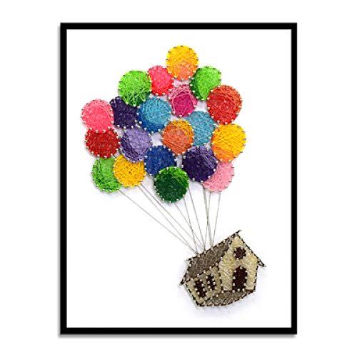Ballon huis nagel garen tekening DIY string zijde schilderij frameloze handmatige wikkeling decoratieve schilderij 30 * 40cm