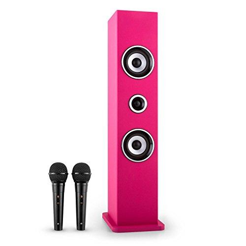 AUNA Karaboom - Karaoke para niños, Set de Karaoke, Torre de Sonido, Dos Altavoces de Banda Ancha, potenciador de Bajos, Bluetooth, 2 x micrófonos dinámicos, USB, Compatible con MP3, Rosa
