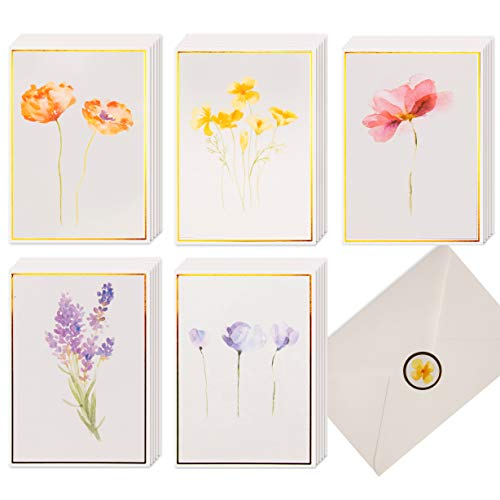 40 Plain Floral Cards, 4 x 6 in Assorted Artistic Watercolor & Gold Foil All Occasion Greeting Cards, Bulk Boxed Set of Blank Flower Stationary Notecards w/ Envelopes & Stickers