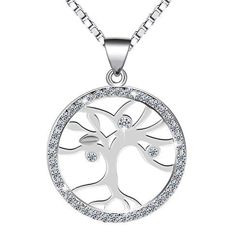 Amilril Collar, árbol de la Vida Colgante, Plata de Ley 925 Moda Joyería, Regalos Navidad Originales