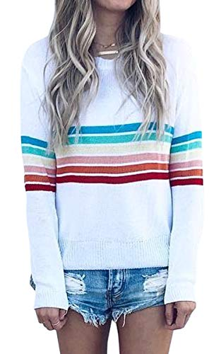 Soft Material - This casual women sweater is made of 85% Polyester & 15% Cotton,Soft and lightweight material, breathable and comfortable. Casual Design - Long Sleeve Pullover, O Neck Sweater, Colorful Striped Tops, Loose Fit Women Sweater, Casual T ...