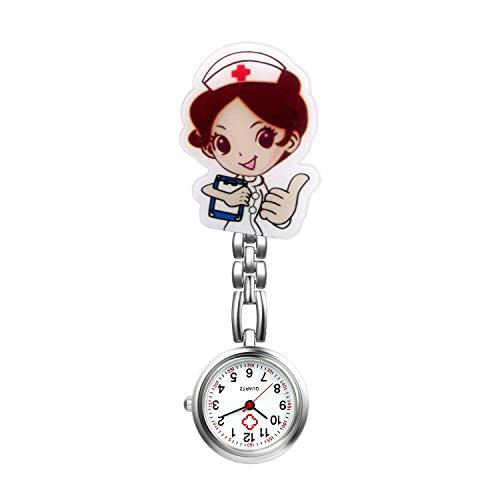 Avaner Relojes de Enfermera Retráctiles, Reloj de Bolsillo con Clip para Colgar Relojes, con Diseño de Dibujos Animados y Solapa con cubierta de silicona para Enfermeras, Doctores
