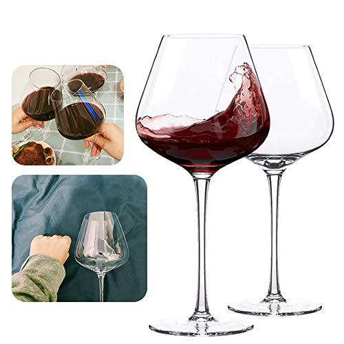 L-KCBTY Copas para Vino Blanco - Grandes Copas De Vino-Tallo Largo,Aptas para Lavavajillas,Ultrafino Duradero, Vasos De Cristal En Titanio Sin Plomo 2 Piezas