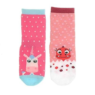 Ziggle lindo, calcetines suaves del bebé caracteres atracción de eunice unicornio y daisy dino diseñado por stripey gatos
