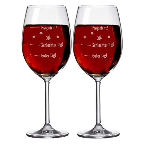 Set – 2 copas de vino XXL – Vaso de humor 'Guter Tag!, Schlechter Tag! - Frag nicht!', 630 ml con grabado