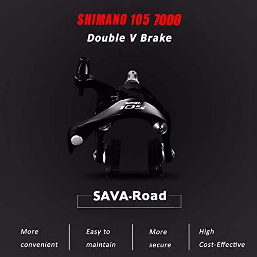 SAVADECK Carbon Rennrad, Herd 6.0 T800 Kohlefaser 700C Rennrad Shimano 105 R7000 Groupset 22 Geschwindigkeit Kohlenstoff Radsatz Sattelstütze Gabel Ultra-Licht Fahrrad (Rot Weiß, 44cm) - 6
