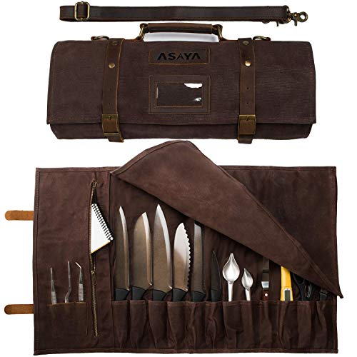 Asaya Waxed Canvas Knife Roll - 15 Knife Slots, Card Holder and Large Zippered Pocket - Genuine Leather, Cloth and Brass Buckles - for Chefs and Culinary Students - Knives Not Included