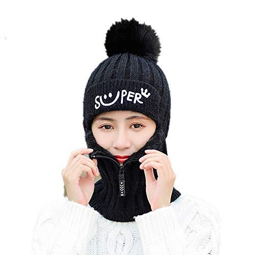 Yihoon Warm Neck Gaiter Balaclava Ski Bike Half Face Cover Warmer Winter Sports Cap for Women and Girls(Black)