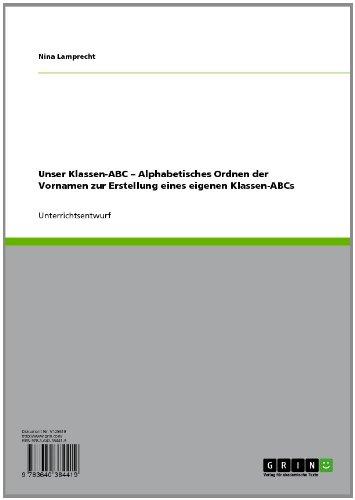 Unser Klassen-ABC – Alphabetisches Ordnen der Vornamen zur Erstellung eines eigenen Klassen-ABCs