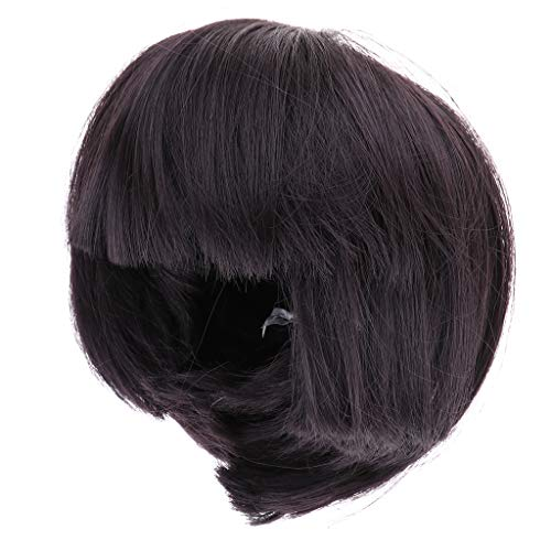 FLAWISH Cute Girl Bangs Short Hair Wig Hairpiece for 1/6 Doll DIY Making Accessories Black Brown