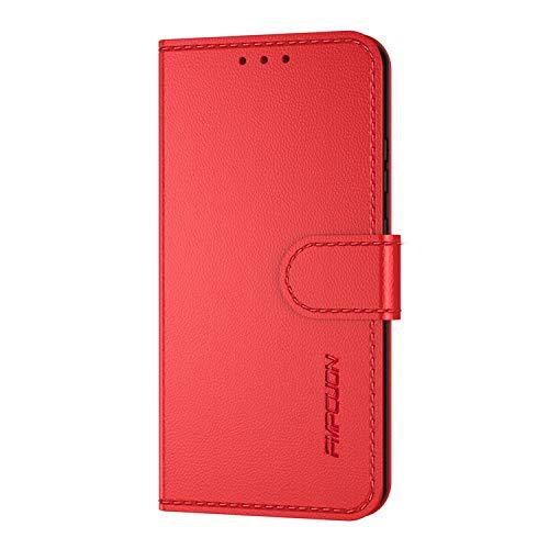 FMPCUON Handyhülle Kompatibel mit LG G8X ThinQ/V50S(Neueste),Premium Leder Flip Schutzhülle Tasche Hülle Brieftasche Etui Hülle für LG G8X ThinQ/V50S,Rot
