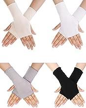 Bememo UV Protection Gloves Wrist Length Sun Block Driving Gloves Unisex Fingerless Glove (Color Set 1, Wrist Length)