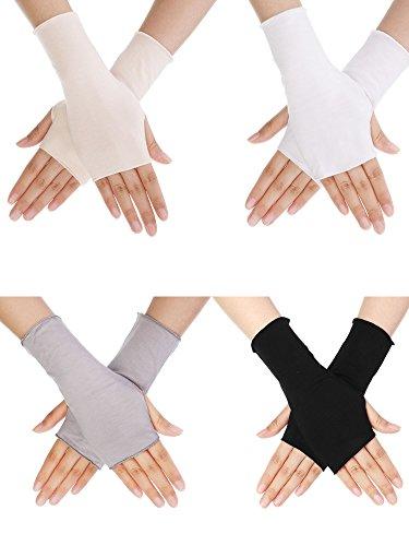 Bememo 4 Paar UV Schutz Handschuhe Handgelenk Länge Sonnen Block Fahren Handschuhe Unisex Fingerlose Handschuhe (Farbe Set 1)
