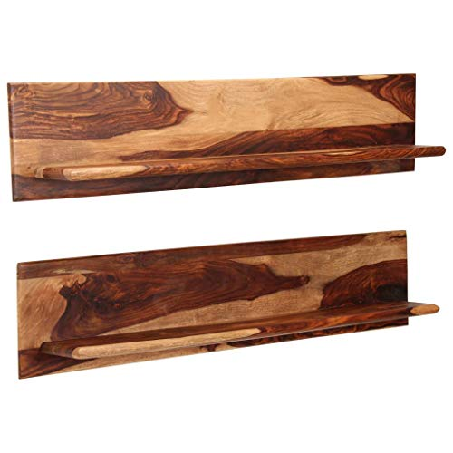 Festnight Wandregale 2 STK.   Rustikal Schweberegal   Holz Wandboard   Wand Holzregal   Hängeregal   Sheesham Massivholz 118 x 26 x 20 cm
