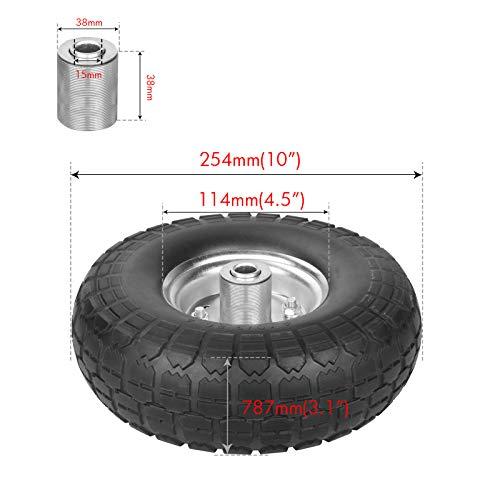 WINWEND 10 Inch Solid Rubber Wheels for Garden Utility Wagon Cart Trolley Snowblower Lawn Mower Wheelbarrow Generator Hand Cart Tires (Orange)