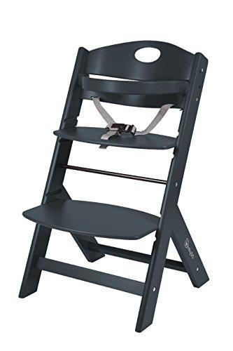 BabyGO 5853 Treppenhochstuhl Holz aus Buche Massiv - mitwachsend, schwarz