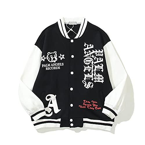 Bomber Jacket Embroidered Pa Angel Letter Smiley Flame Baseball Costume Unisex Premium Button Denim Jackets (Large)