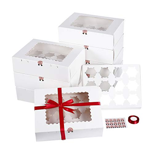 Jespeker 12 Pièces Boîtes à Gâteaux Blanches en Carton Lot de 12 Cupcakes avec La Fenêtre 32.5X 25x 9cm avec 1 Rouleau de Ruban de Satin Rouge Boite Cadeau pour Party Festival