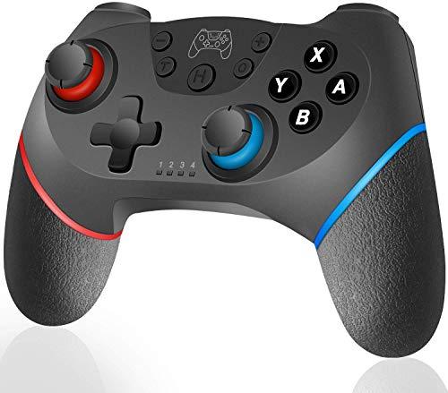 Lunriwis Controller Switch, Switch PRO Controller Bluetooth, Switch Gamepad Joystick con Turbo Regolabile Dual Motor Vibration Supporta Sensor 6 Gyro Axis
