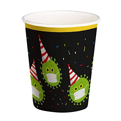 Boland 44624 – Vasos de Fiesta Safe, Capacidad 250 ml, 6 Unidades, Vasos de Papel con diseño, Vasos Desechables, decoración de Mesa, cumpleaños, Fiestas, Carnaval
