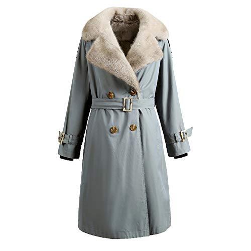 Byfjkkl Abrigo de lluvia para mujer de dos filas desmontable, con forro de peluche, cálido, color azul, S