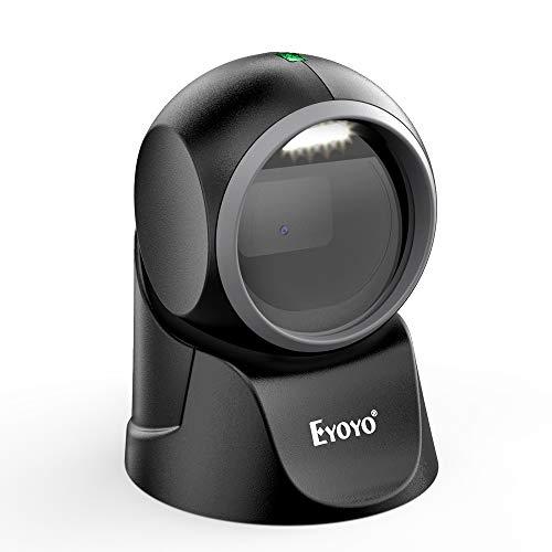 Scanner di codici a barre da tavolo Eyoyo 1D 2D, con scansione a rilevamento automatico Piattaforma a mani libere omnidirezionale Lettore di codici a barre Scansione dello schermo QR