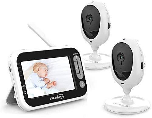 JSLBtech Babyphone 2 Caméras Moniteur Vidéo bébé avec écran LCD 4,3', Vision Nocturne Automatique, Détection de Température, Communication Bidirectionnelle, économie d'énergie