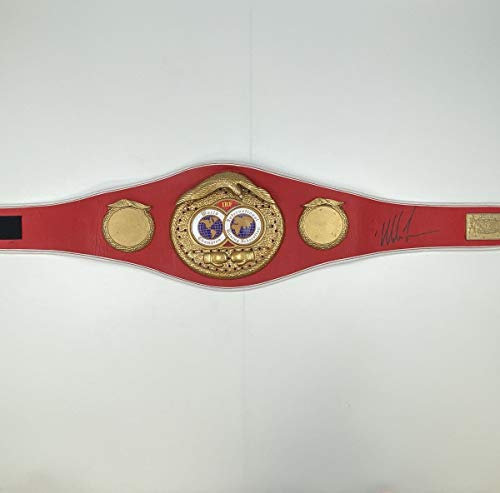 Autographed/Signed Mike Tyson IBF Red Boxing Replica Championship Belt Athlete Hologram COA