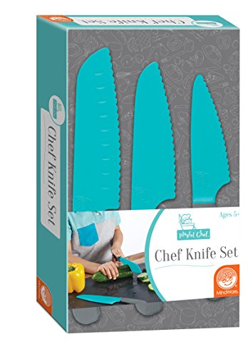 Playful Chef: Safety Knife Set for Kids – 3 Knives Plastic Blades with Serrated Edges – Real Cooking Supplies for Boys & Girls – Safe for Little Hands Ages 4 & up
