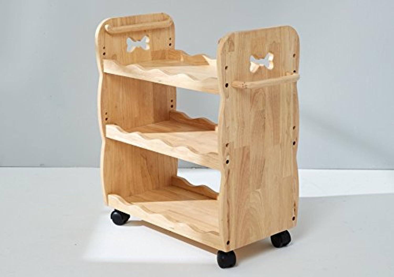 Kinder Rollwagen, Bücherregal, Küchenwagen, Allzweckwagen, 100% Massivholz, Natur