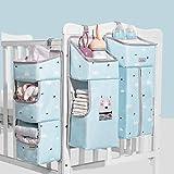 Krippen-hängender Organisator Multifunktions - SUNVENO Wasserdichter Wickelaufhänger für Babybetten, Hängende Aufbewahrungstasche 3 in 1 Abnehmbar, Baby Closet Organizer Portable, Blau