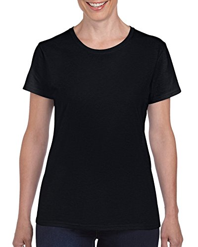 Gildan Women's Heavy Cotton Adult T-Shirt, 2-Pack, Black, Large