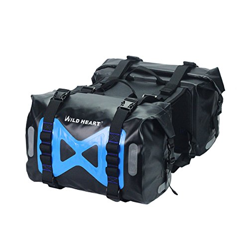 WILD HEART Waterproof bag Motorcycle saddlebag 50L Tank bag Motor Side bag (Black)