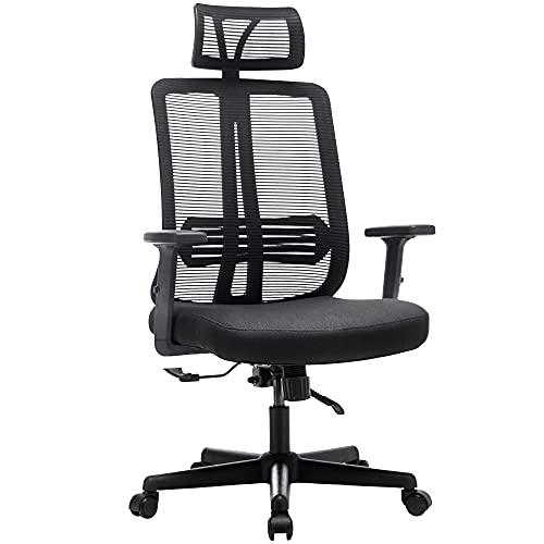 Frarlsh Bürostuhl Ergonomischer Computerstuhl mit elastischer Lendenwirbelstütze Hochlehner Schreibtischstuhl mit Verstellbarer Kopfstütze und Armlehne