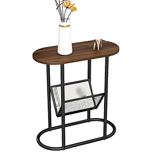 Tavolini XIAOR Laterale in Legno Ovale Creativo a 2 Livelli, Ripiano in Metallo per Libreria a Griglia, 4 Tappetini Antiscivolo per Scrivania Comodino Divano