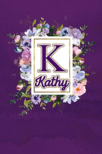 K - Kathy: Monogram initial K for Kathy notebook / Journal: Personalized Name Letter gifts for girls, women & men : School gifts for kids & teachers ... 6x9 Classy Purple Gold Floral Mosaic Finish)